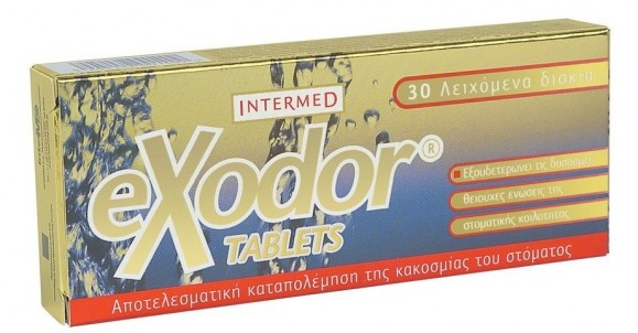 Intermed Exodor Tablets, Ταμπλέτες για τη Γρήγορη Αντιμετώπιση της Κακοσμίας του Στόματος 30Tabs