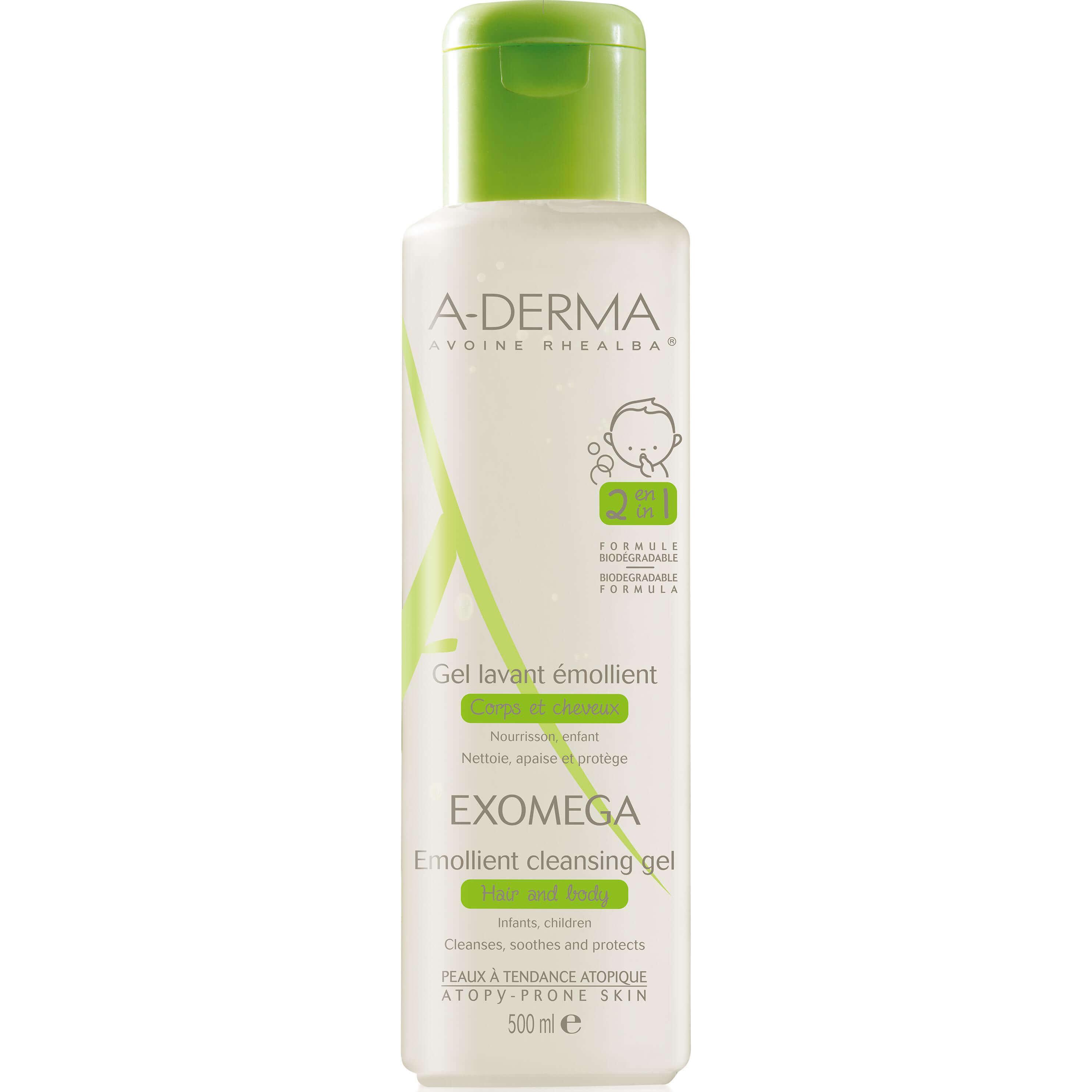 A-Derma Exomega Gel Lavant Emollient Μαλακτικό Gel Καθαρισμού για το Ατοπικό – Πολύ Ξηρό Δέρμα – Μαλλιά, Βρέφη & Παιδιά 500ml