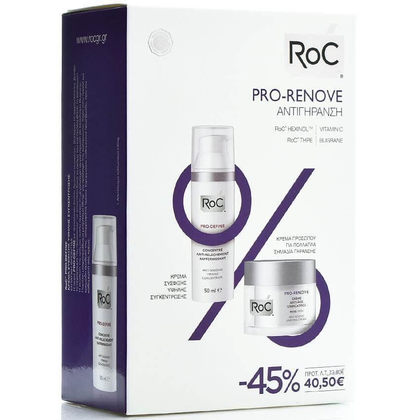 Roc Pro-Renove Κρέμα Αντιγήρανσης Προσώπου Πλούσιας Υφής 50ml & Pro-Define Κρέμα Σύσφιξης Υψηλής Συγκέντρωσης 50ml Promo -45%