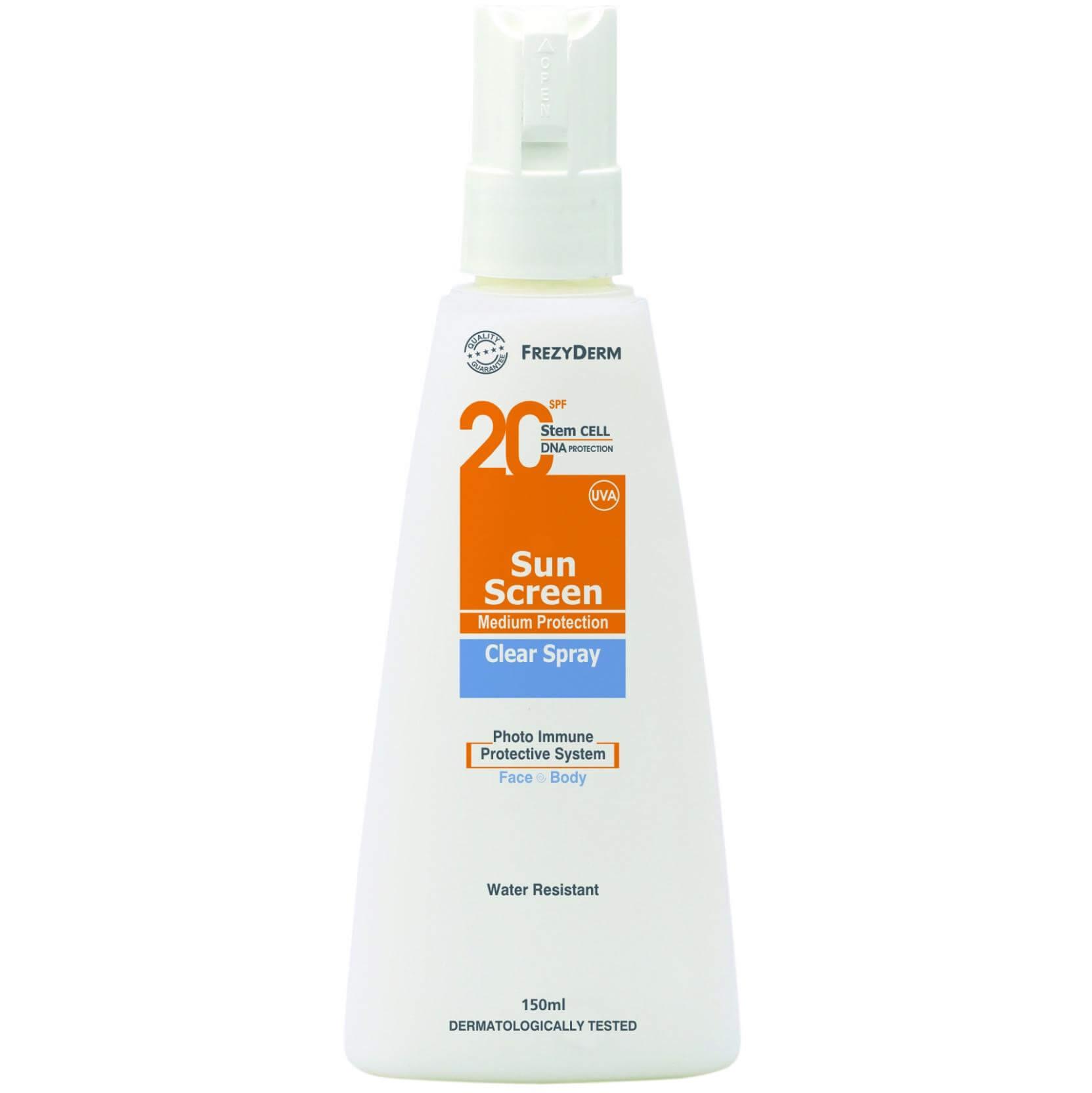 Frezyderm Sun Screen Clear Spray Spf20 Αντηλιακό Διάφανο Λάδι Προσώπου – Σώματος Μεσαίας Προστασίας, μη Λιπαρής Υφής 150ml