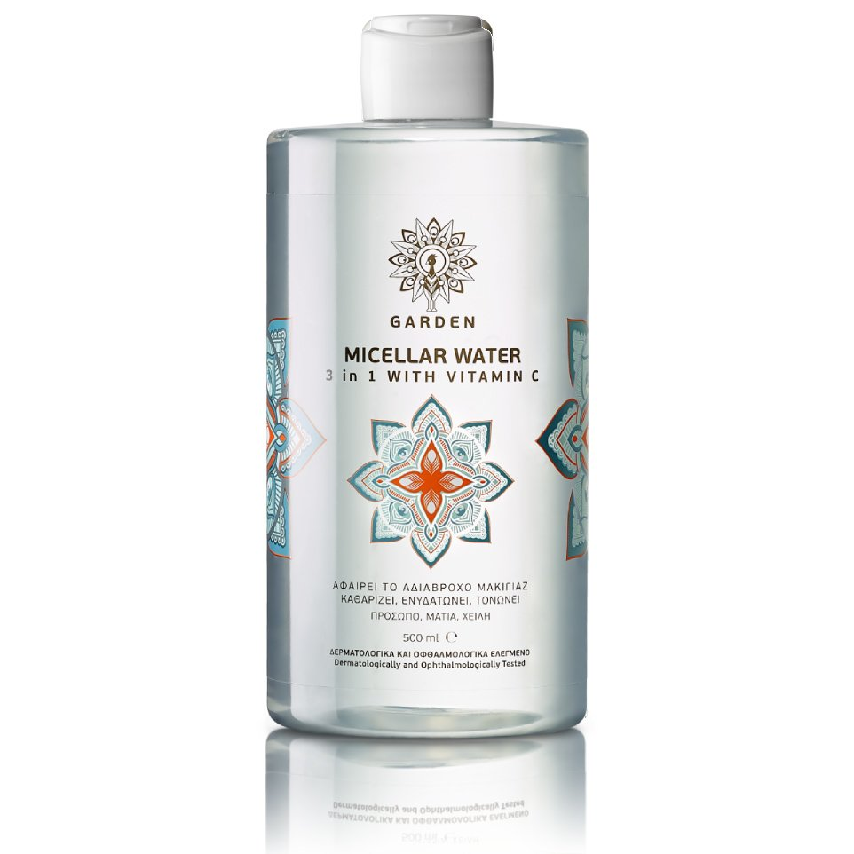 Garden Micellar Water 3 in 1 with Vitamin C Μικυλλιακό Νερό Καθαρισμού με Βιταμίνη C για Αδιάβροχο Μακιγιάζ 500ml
