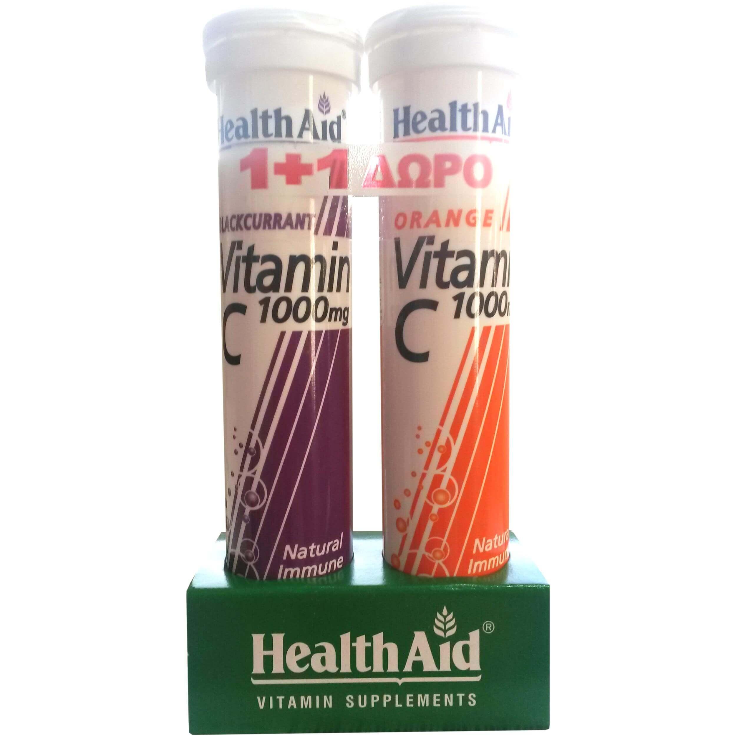 Health Aid Πακέτο Προσφοράς Vitamin C 1000mg Φραγκοστάφυλλο & Vitamin C 1000mg Πορτοκάλι 2x20effer.tabs 1+1 Δώρο