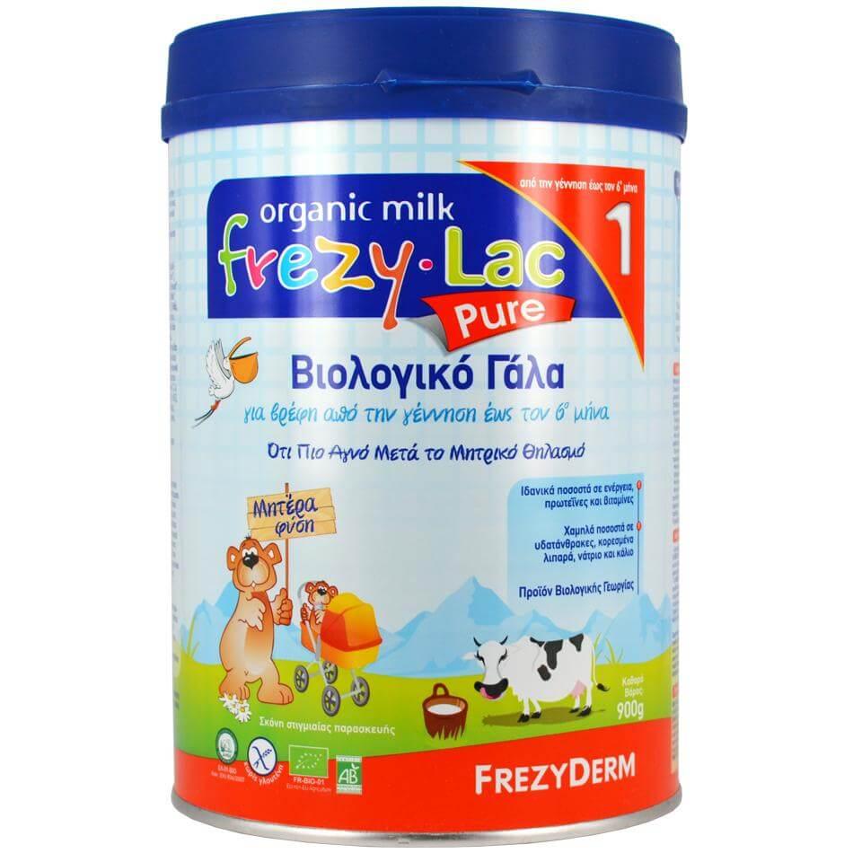 Frezyderm Frezylac Pure 1 Αγνό Βιολογικό Γάλα Κατάλληλο για την Διατροφή του Βρέφους απο την Γέννηση έως τον 6ο Μήνα 900gr