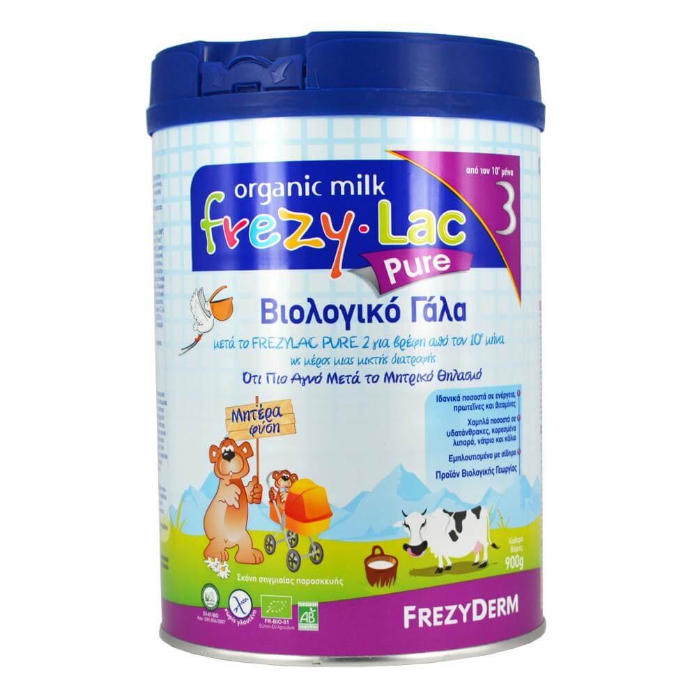Frezyderm Frezylac Pure 3 Αγνό Βιολογικό Γάλα Κατάλληλο για την Διατροφή του Βρέφους από τον 10ο Μήνα 900gr