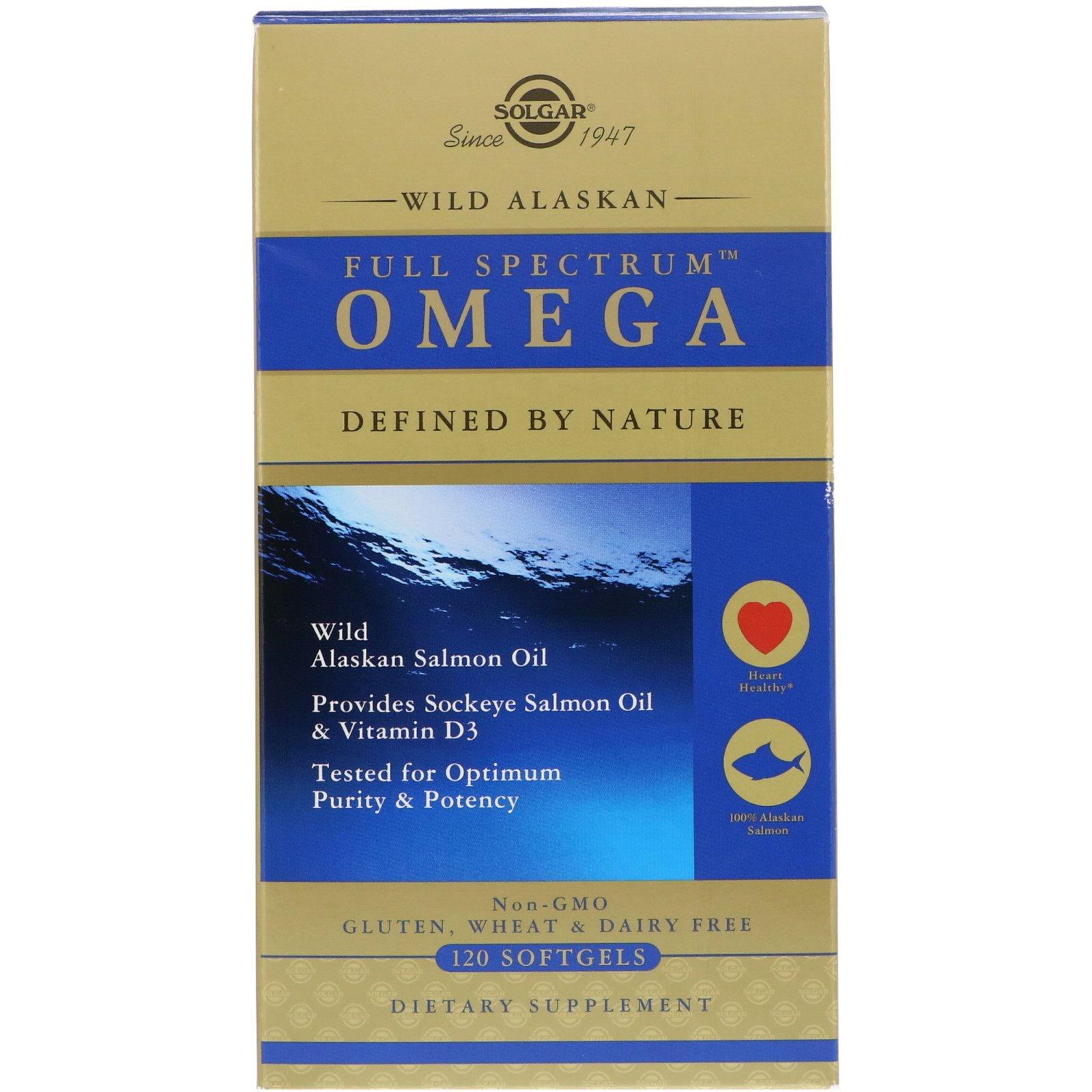 Solgar Wild Alaskan Full Spectrum Omega Συμπλήρωμα Διατροφής, Παρέχει Αντιφλεγμονώδη Δράση 120s.gels