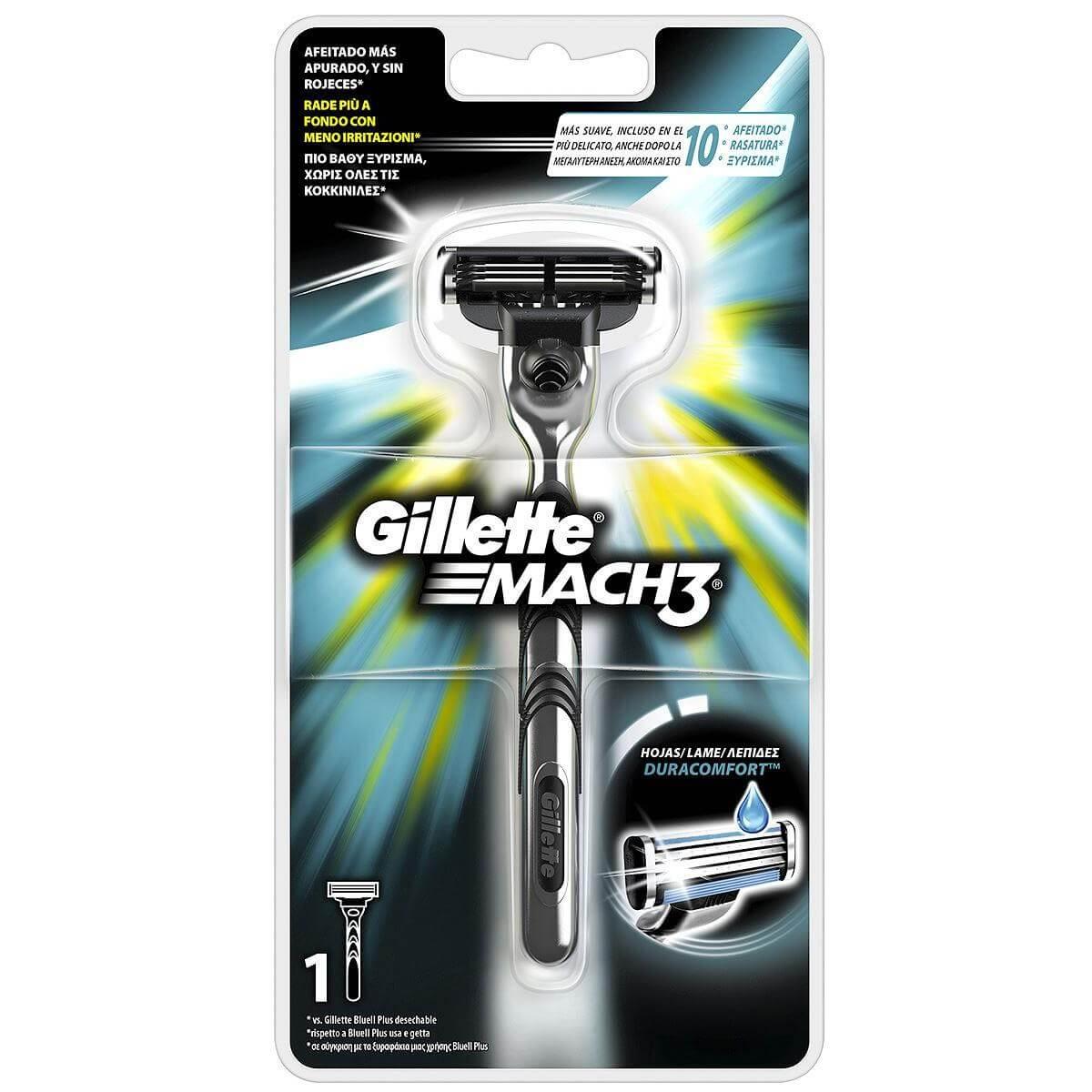 Gillette Mach 3 Ξυριστική Μηχανή με 3 Λεπτές Λεπίδες & Λιπαντική Ταινία Για πιο Βαθύ Ξύρισμα έως 100% Χωρίς Κοκκινίλες 1Τεμάχιο