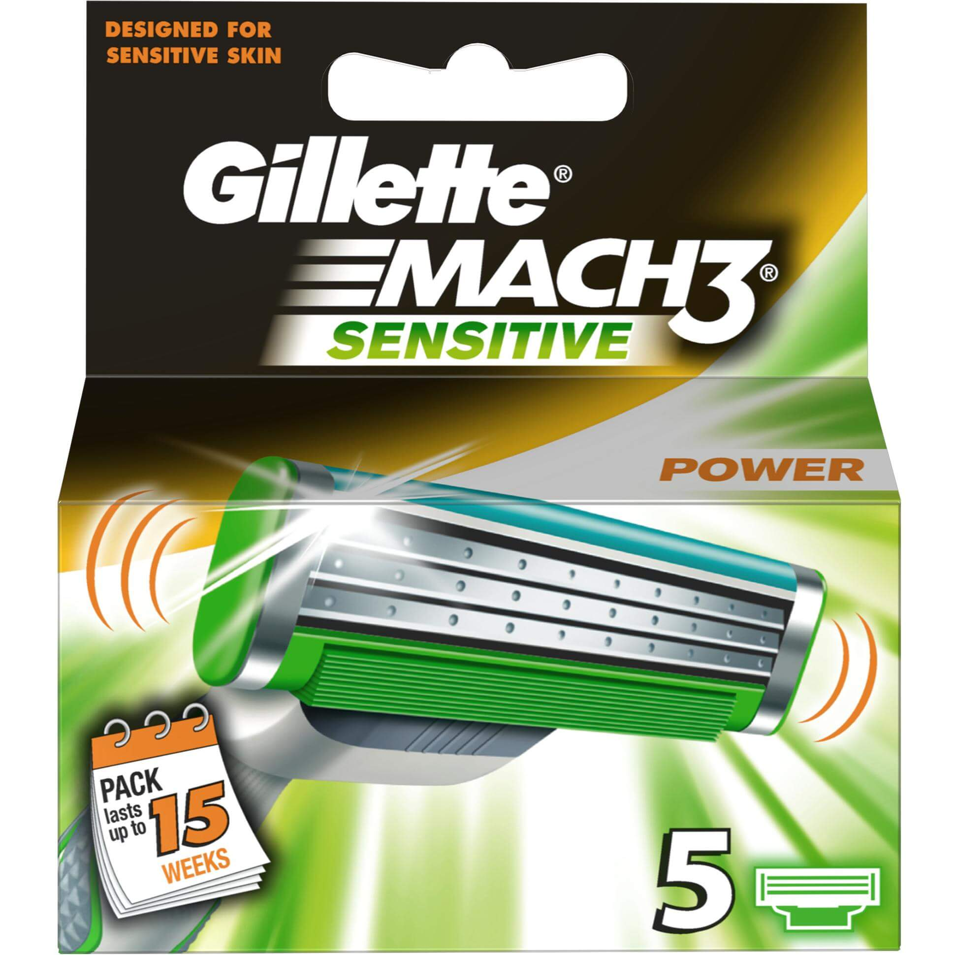 Gillette Mach 3 Power Sensitive Ανταλλακτικά Σχεδιασμένα για το Ευαίσθητο Δέρμα με Προηγμένη Κινούμενη Κεφαλή 5τμχ
