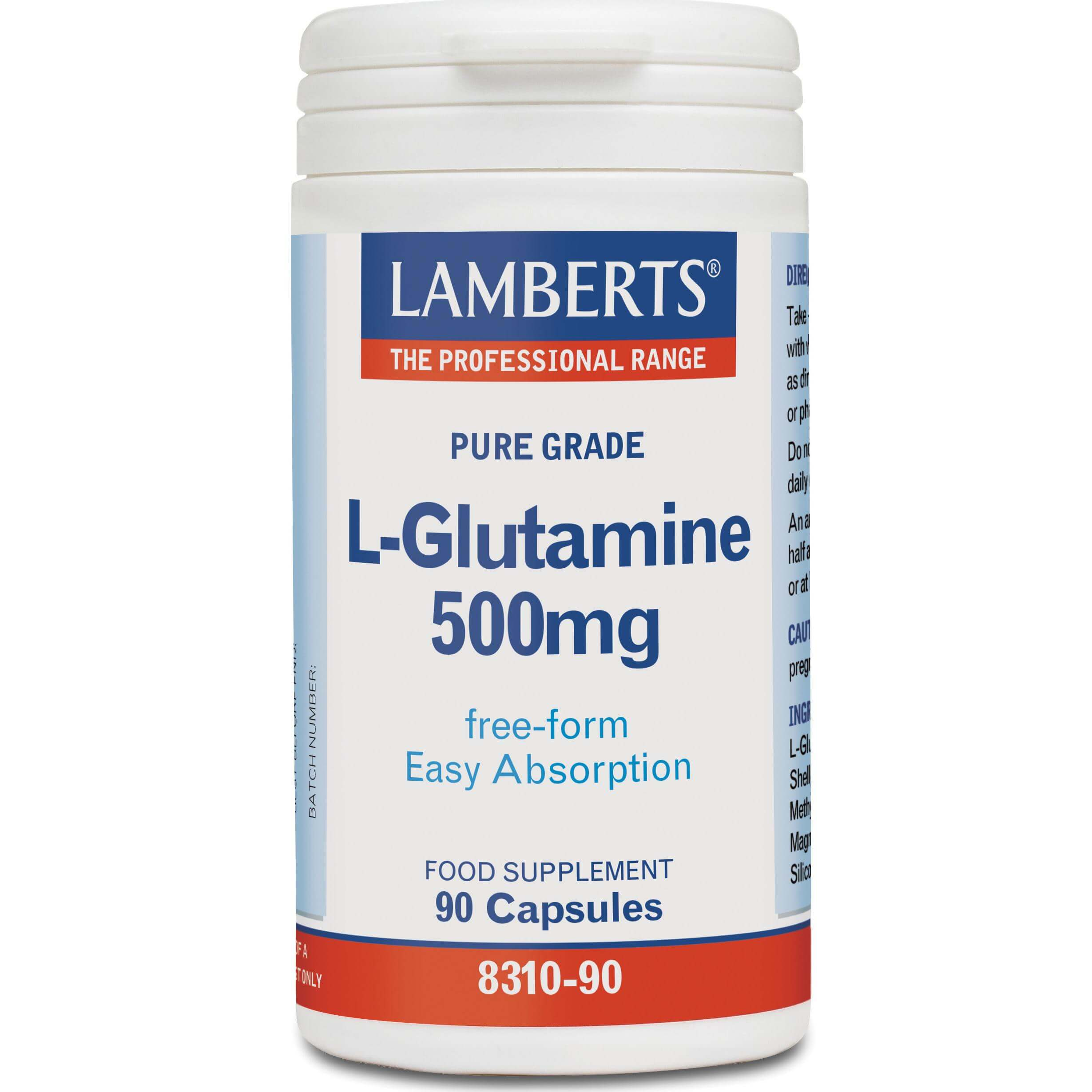 Lamberts L-Glutamine Συμπλήρωμα Διατροφήςγια τη Φυσιολογική Λειτουργία του Εντέρου 500mg 90 caps