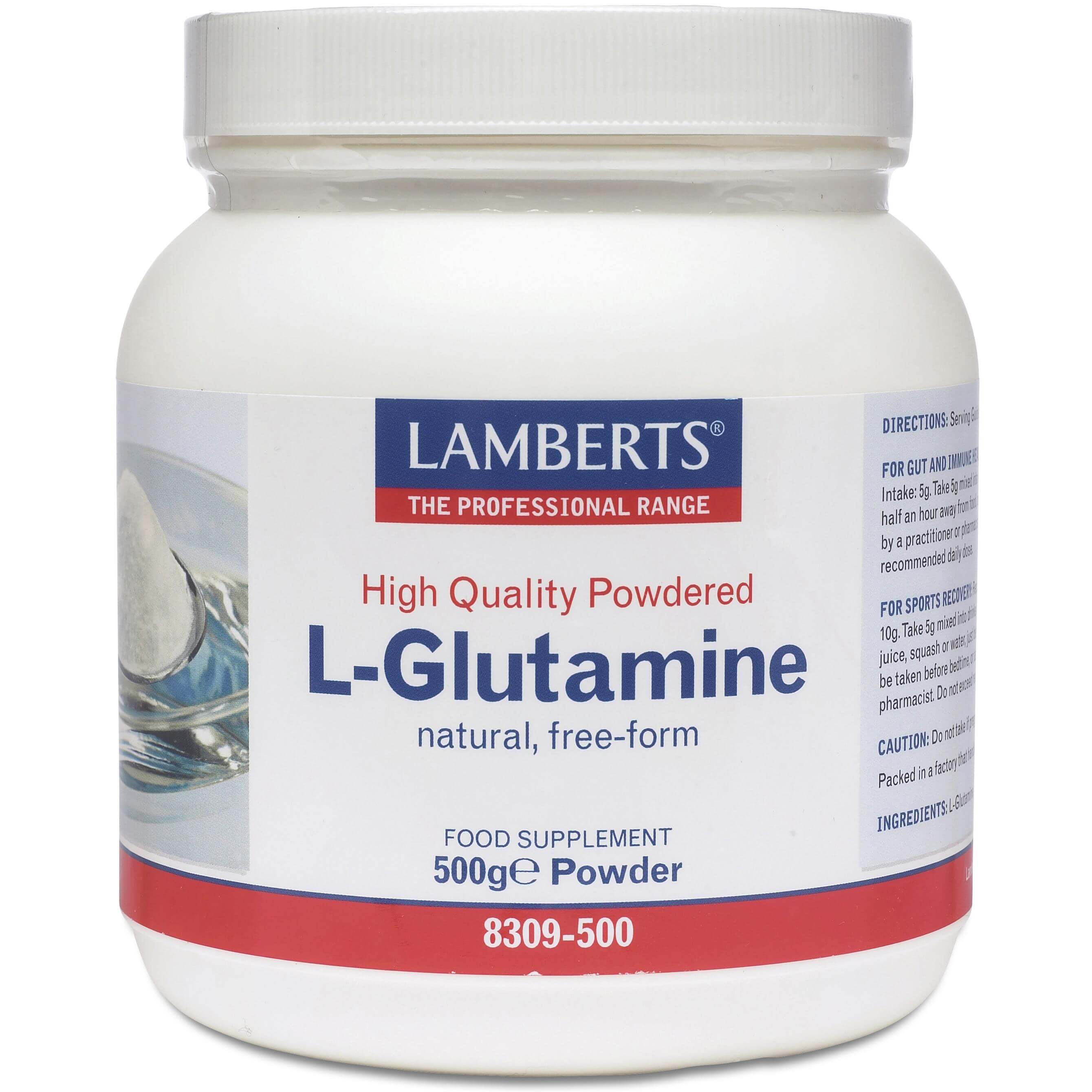 Lamberts L-Glutamine Powder Αμινοξύ για τη Καλή Λειτουργία του Εντέρου σε Σκόνη 500gr
