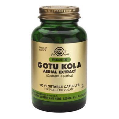Solgar Std Gotu Kola Aerial Extract Συμπλήρωμα Διατροφής, Χρήσιμο Βοήθημα για την Αντιμετώπιση των Κιρσωδών Φλεβών 100veg.caps