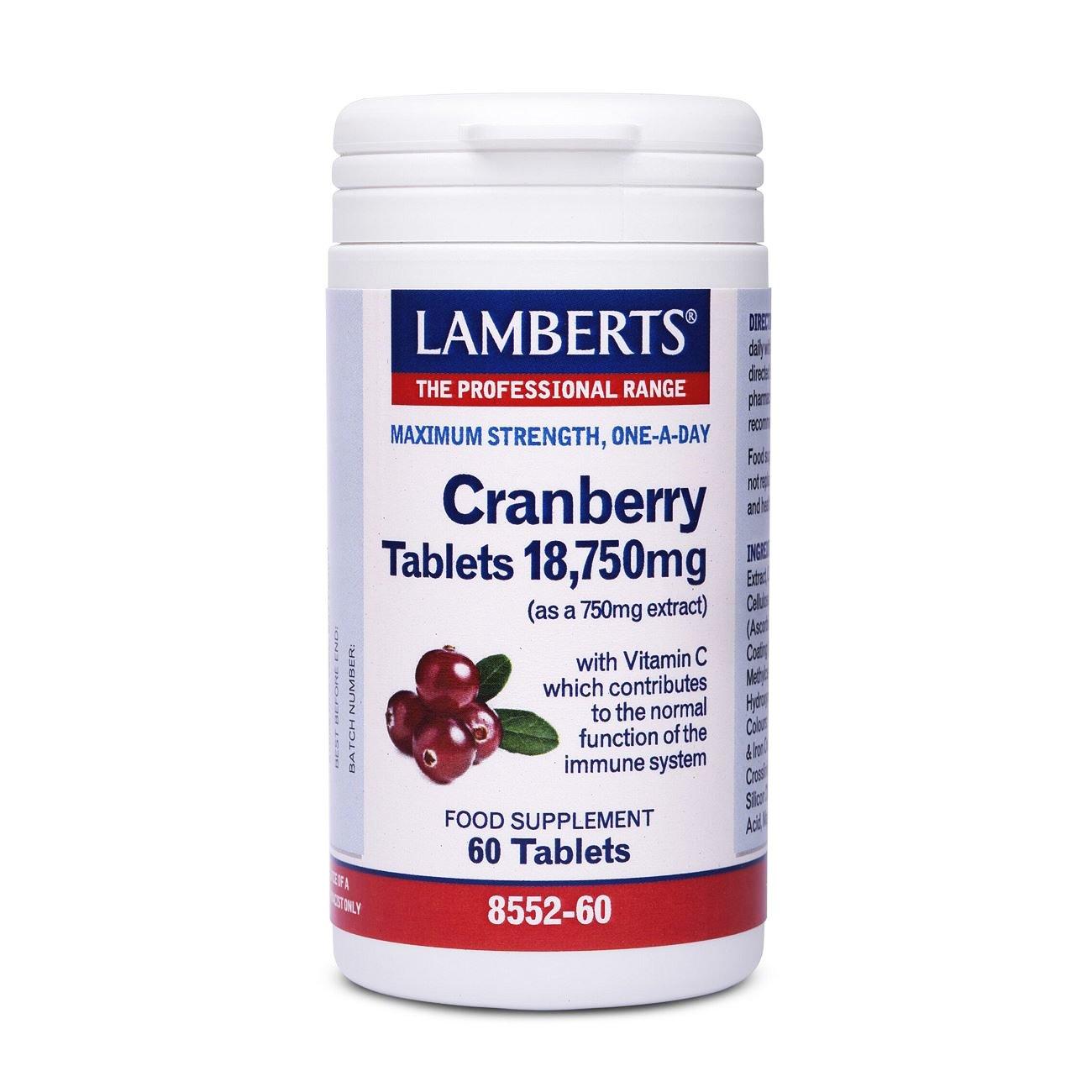 Lamberts Cranberry Συμπλήρωμα Διατροφής για τη Διατήρηση της Υγείας του Ουροποιητικού Συστήματος 60 tabs
