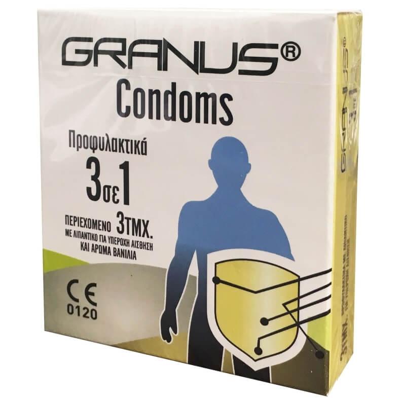 Granus Condoms Προφυλακτικά με Λιπαντικό και Γεύση Βανίλια 3 σε 1 3τεμ