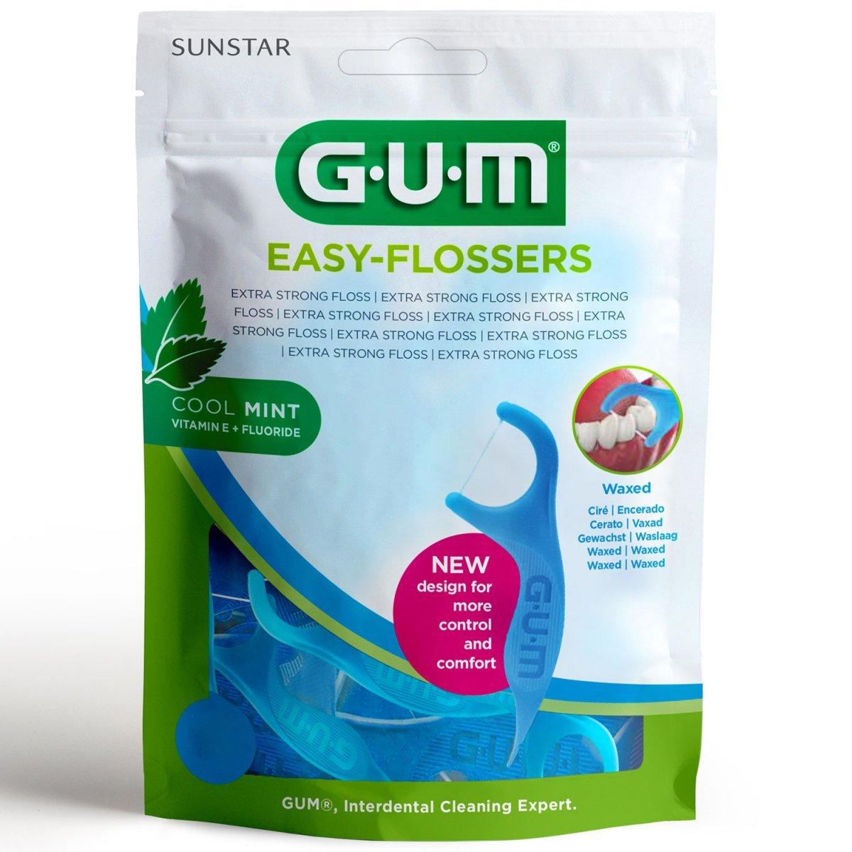 Gum Easy Flossers + Fluoride & Vitamin E Κερωμένο Οδοντικό Νήμα με Γεύση Δροσερής Μέντας (890) – 50 Τεμάχια