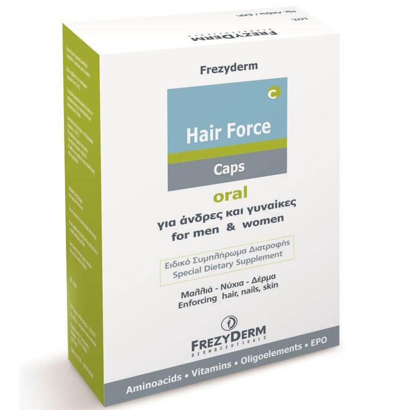 Frezyderm Hair Force Ειδικό Συμπλήρωμα Διατροφής για Μαλλιά Νύχια Δέρμα 60Caps