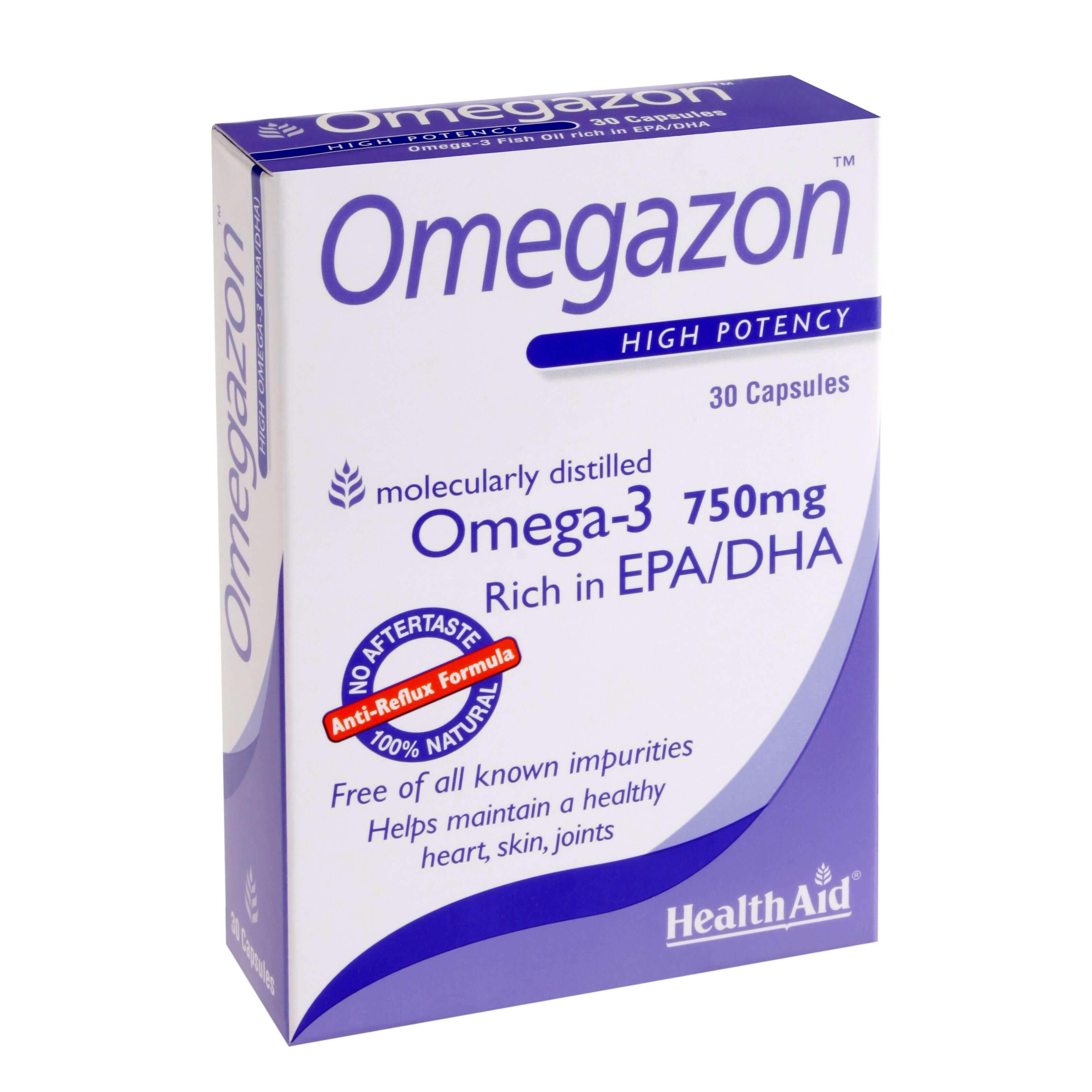 Health Aid Omegazon -Blister 750Mg Νορβηγικά Ιχθυέλαια Διπλής Μοριακής Απόσταξης 30Caps