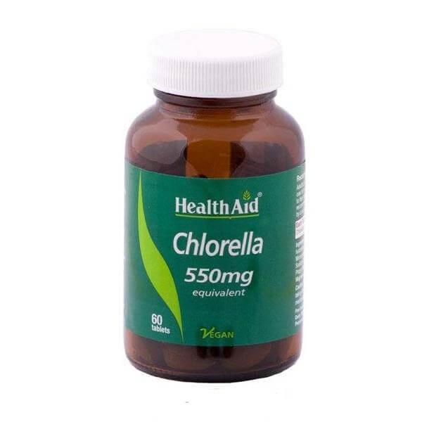Health Aid Chlorella 550mg Πλούσιο Σε Αμινοξέα Βιταμίνες Και Μέταλλα Κυρίως Ασβέστιο Φώσφορο Και Σίδηρο 60tabs