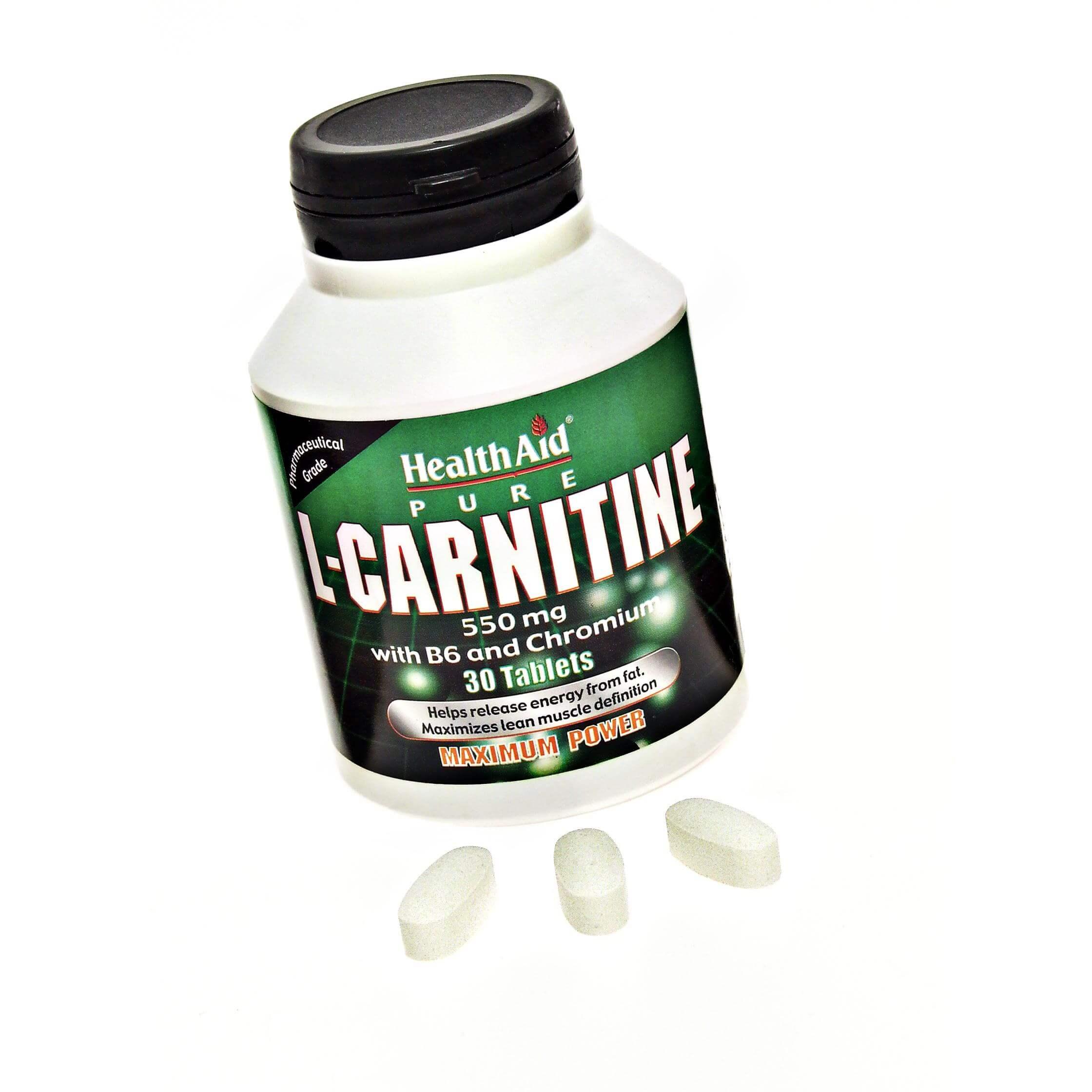 Health Aid L-Carnitine with Vitamin B6 & Chromium Αυξάνει Την Μετατροπή Των Λιπαρών Οξέων Σε Ενέργεια 30 tabs