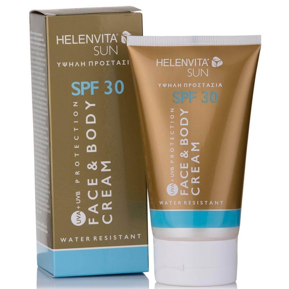 Helenvita Sun Face & Body Cream Spf30 Αδιάβροχη Αντηλιακή Κρέμα Προσώπου-Σώματος Υψηλής Παθητικής & Ενεργητικής Προστασίας 150ml