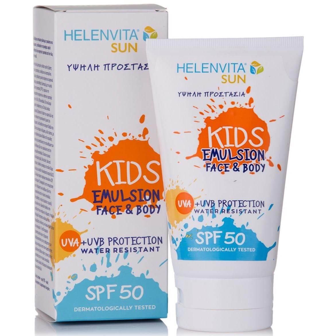Helenvita Sun Kids Face & Body Emulsion Spf50 Παιδικό Αδιάβροχο Aντηλιακό Γαλάκτωμα Προσώπου-Σώματος Υψηλής Προστασίας 150ml