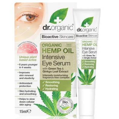 Dr. Organic Hemp Oil Intensive Eye Serum Αντιγηραντικό Serum Ματιών που Μειώνει τις Λεπτές Γραμμές & Ρυτίδες 15ml