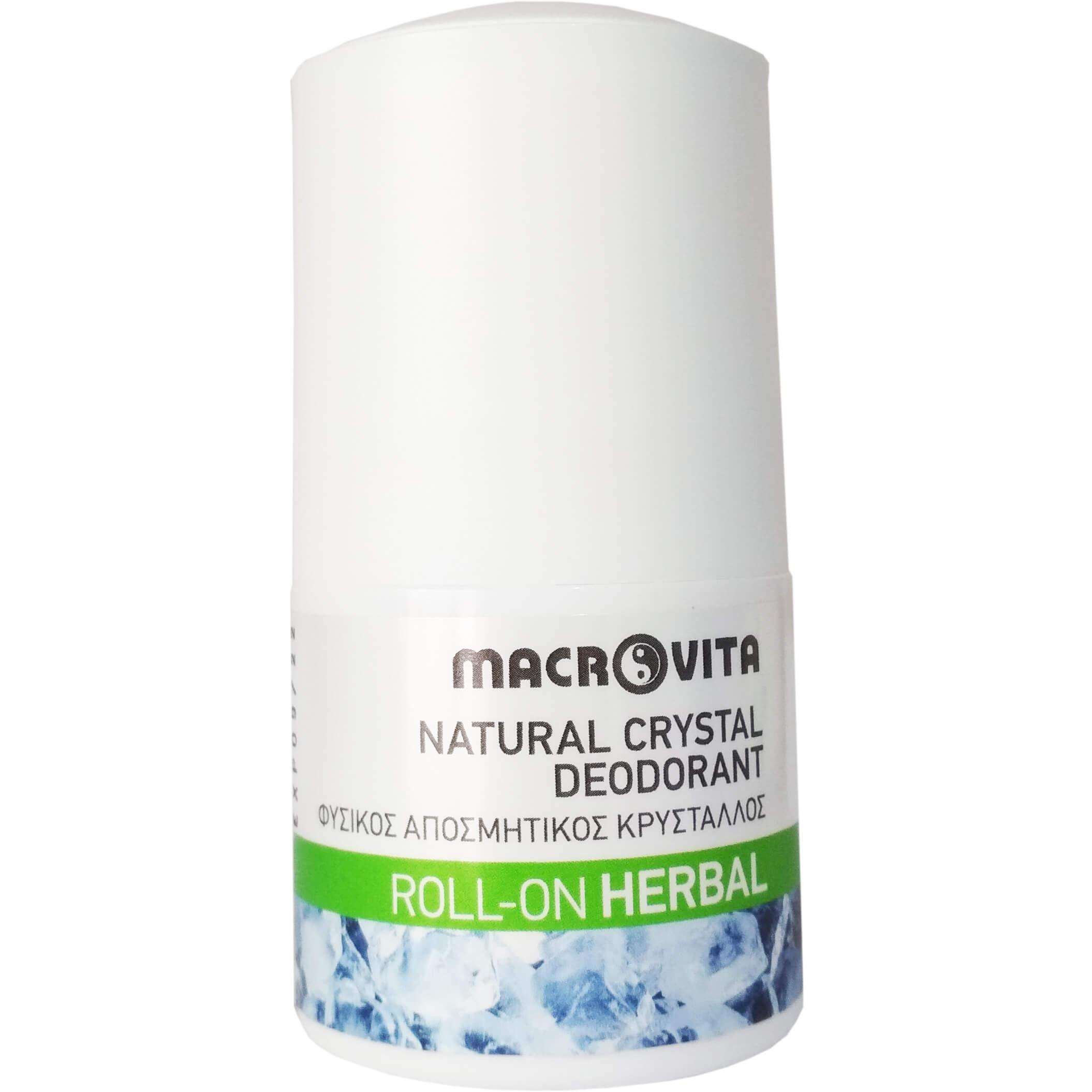 Macrovita Natural Crystal Deodorant Φυσικός Αποσμητικός Κρύσταλλος Roll-On Άρωμα Herbal 50ml
