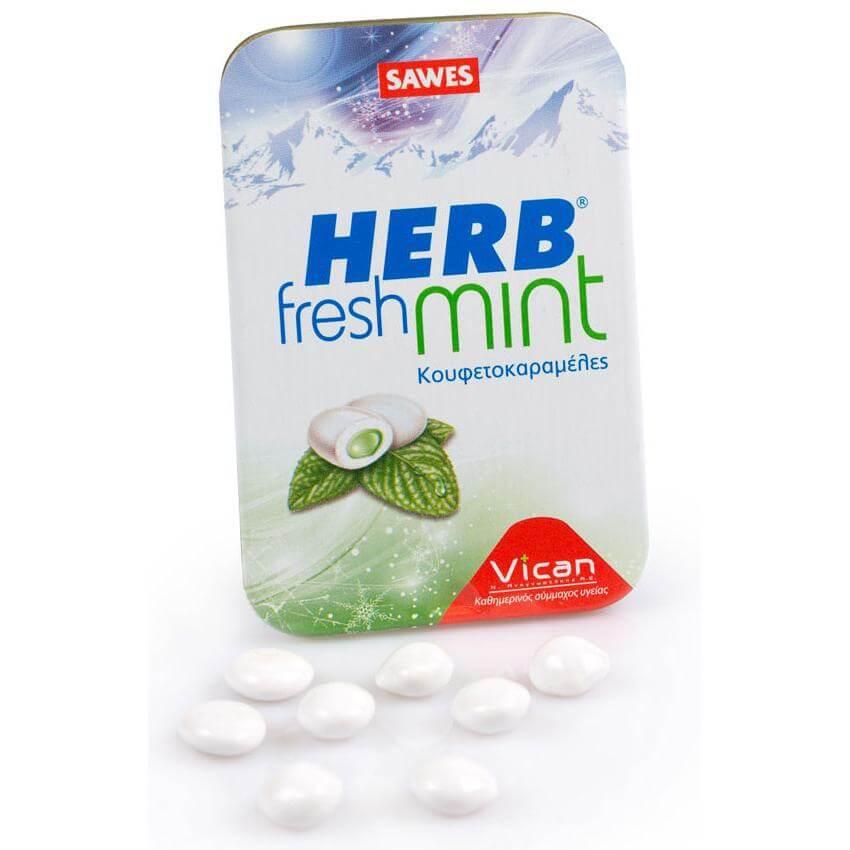 Vican Herb Fresh Mints Καραμέλες Ενάντια Στην Κακοσμία Του Στόματος Με Δυόσμο & Φυσικό Άρωμα Mέντας 6005 20gr