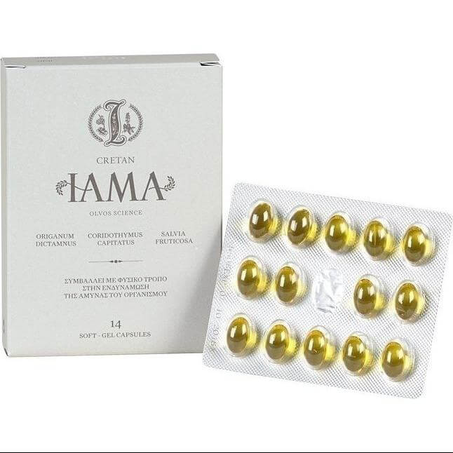 Cretan IAMA Φυσικό Συμπλήρωμα Διατροφής Για Το Ανοσοποιητικό, με Έξτρα Παρθένο Ελαιόλαδο, Μείγμα Βοτάνων 14soft.caps