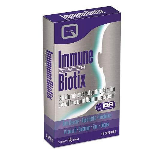 Quest Immune Biotix With Beta Glucans Garlic Probiotics D Zinc Selenium Copper 30caps