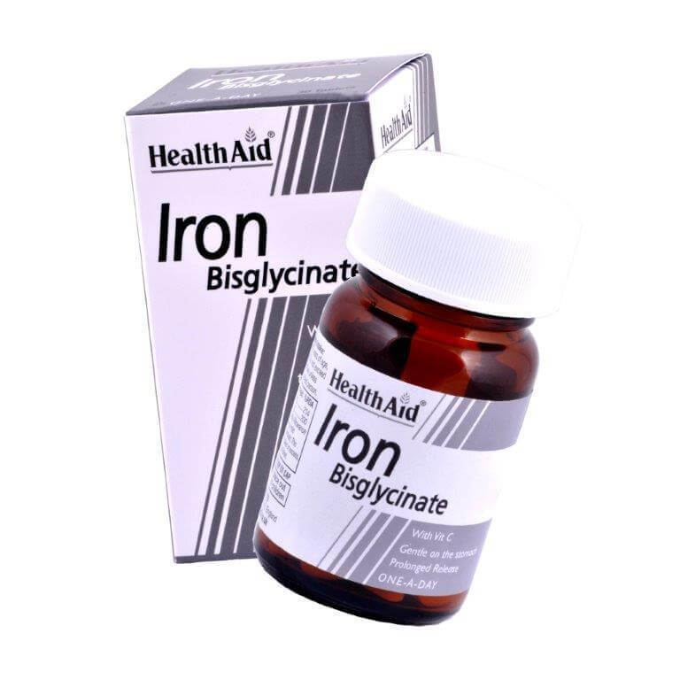 Health Aid Iron Bisglycinate with Vit.C. Σίδηρος Δισγλυκινικός Φιλικός Προς Το Στομάχι Βραδείας Αποδέσμευσης 30vegcaps
