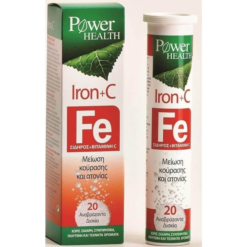 Power Health Iron & C Συμπλήρωμα Διατροφής Σιδήρου & Βιταμίνης C 20 Effer.Tabs
