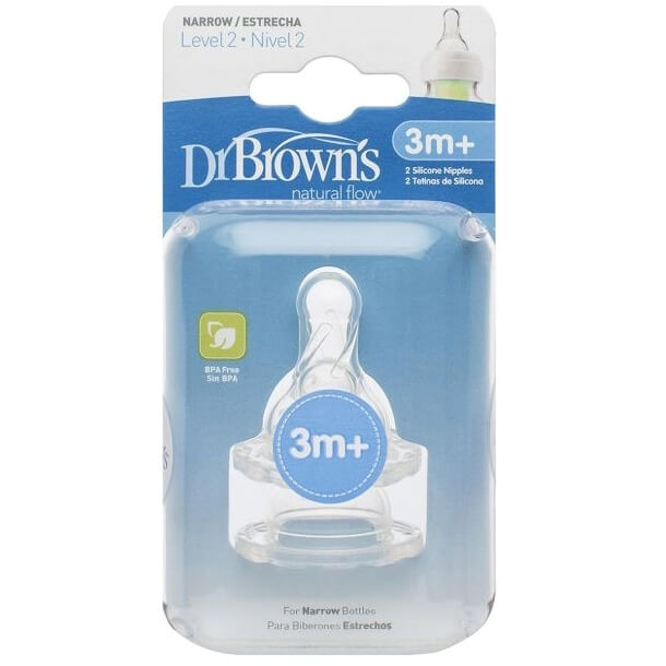 Dr. Brown's Θηλές Σιλικόνης Για Μπιμπερό Με Στενό Λαιμό Για Βρέφη 3+ 2τεμ.322-GB