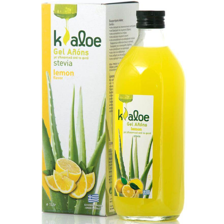 Kaloe Gel Αλόης Φυσικός Χυμός Βιολογικής Αλόης με Γεύση Λεμόνι & Γλυκαντικά Από το Φυτό Stevia 1Lt