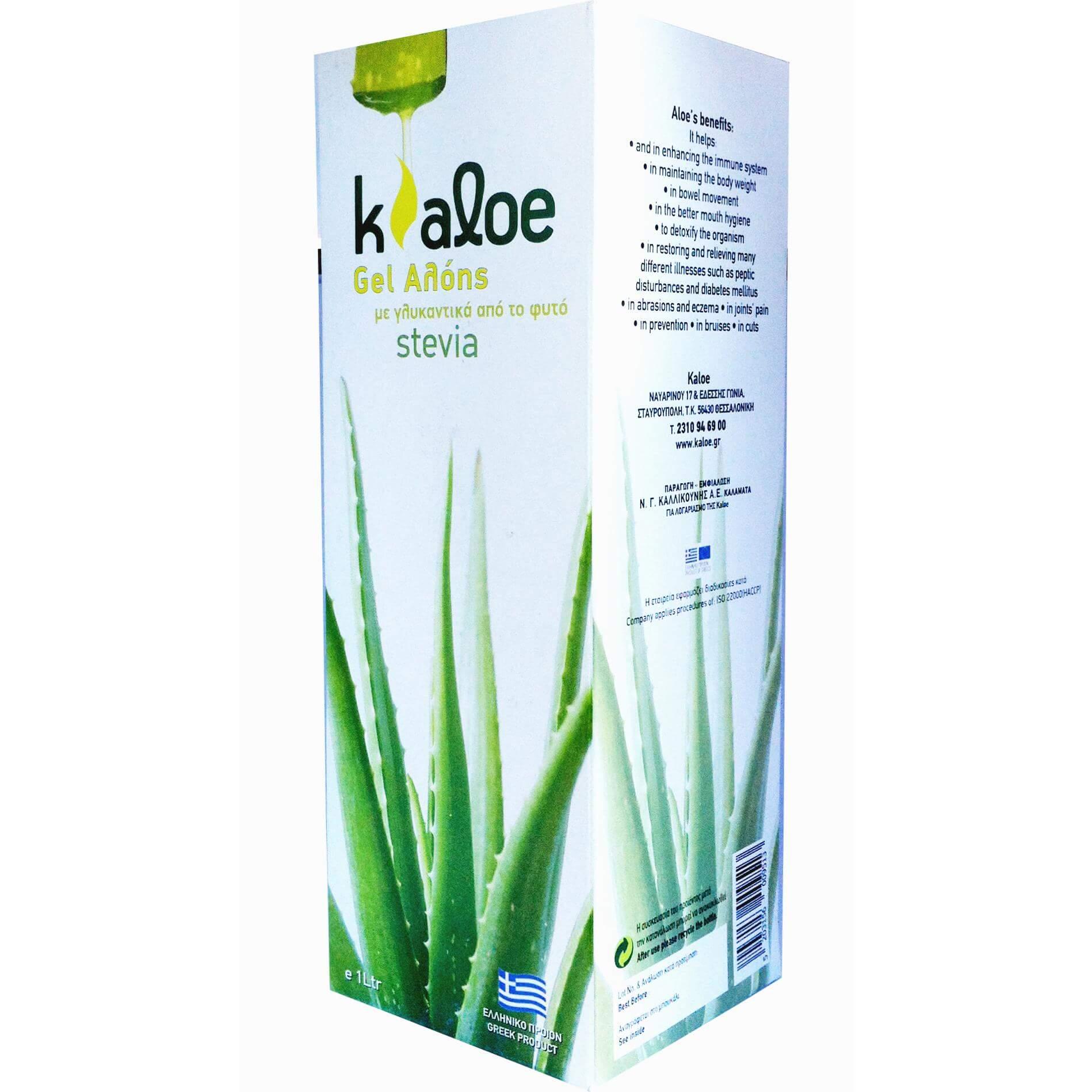 Kaloe Gel Αλόης Φυσικός Χυμός Βιολογικής Αλόης & Γλυκαντικά Από το Φυτό Stevia 1Lt