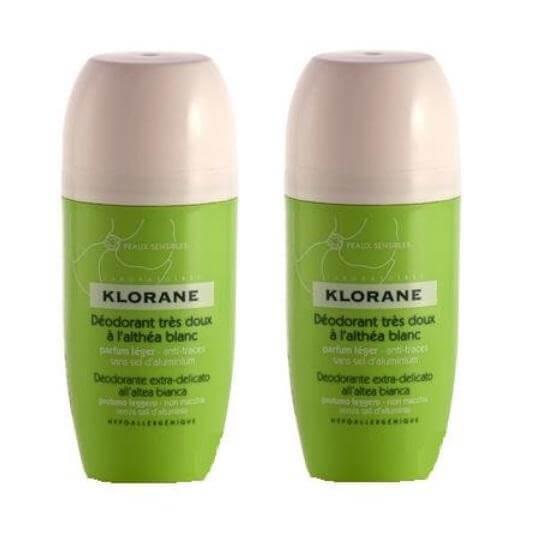Klorane Deodorant Bille Πολύ Απαλό Αποσμητικό Roll on Με Λευκή Αλθέα Προσφορά 2x40ml