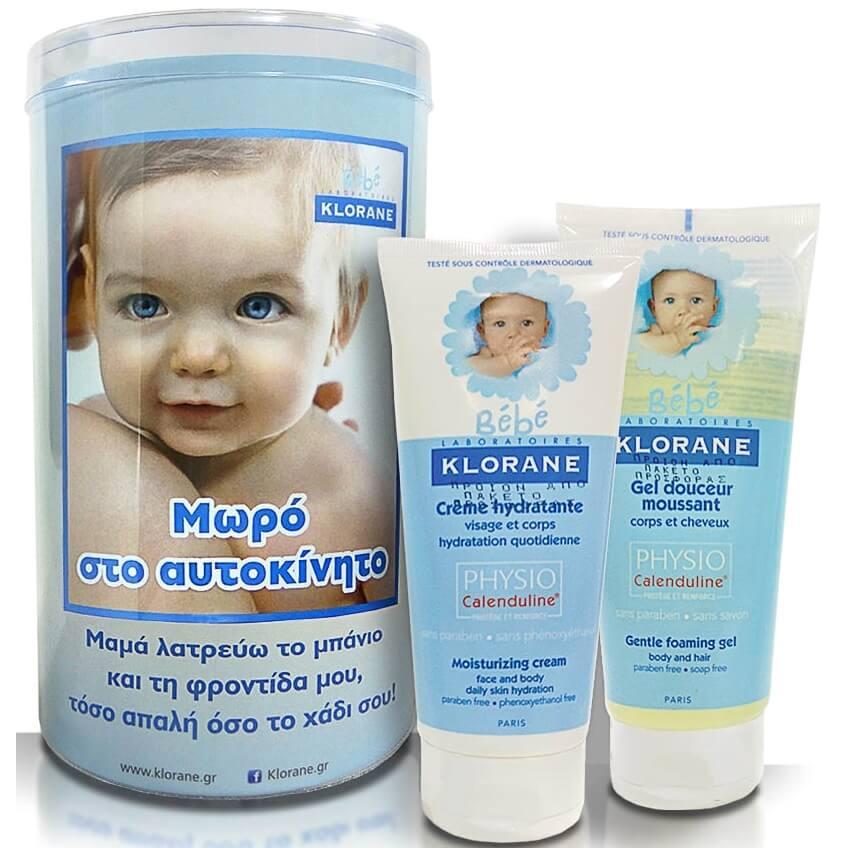 Klorane Bebe Gentle Foaming Gel Καθαρισμού 200ml & Creme Hydratante Vitaminee 200ml & ΔΩΡΟ Αυτοκόλλητο «Μωρό στο Αυτοκίνητο»