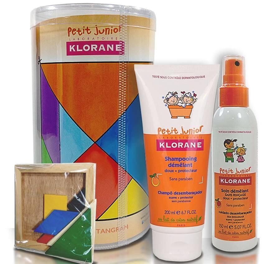 Klorane Petit Junior Demelant Παιδικό Σαμπουάν Ροδάκινο 200ml & Παιδικό Σπρέι για Ξέμπλεγμα Μαλλιών 150ml & Παιχνίδι Tangram