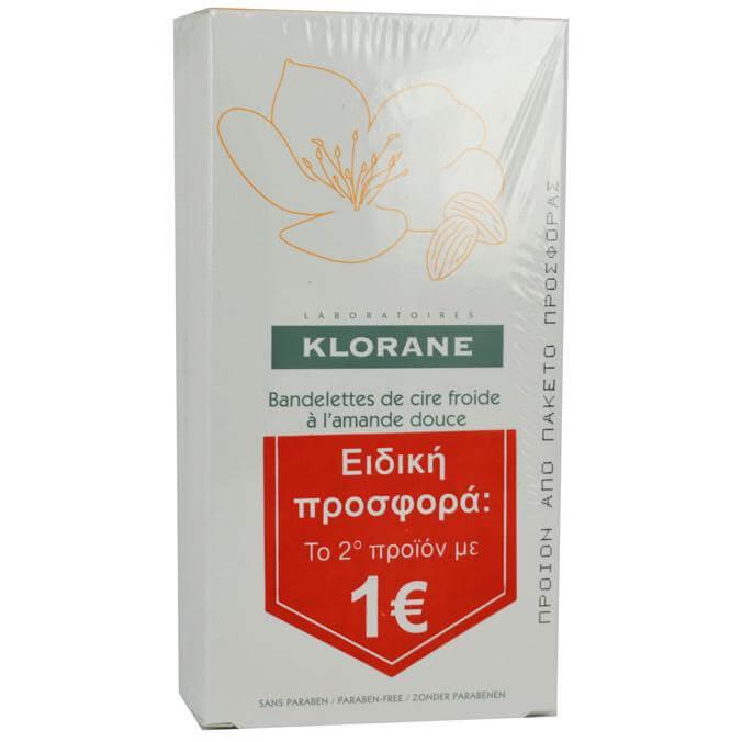 Klorane Πακέτο Προσφοράς Cold Wax Small Strips with Sweet Almond το 2ο Προϊόν με 1€, 2 x 6 ταινίες