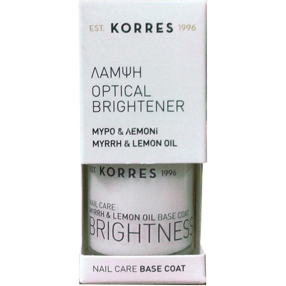 Korres Optical Brightener Base Coat Κατά του Κιτρινίσματος των Νυχιών με Μύρο &  υγιεινή   χέρια   φροντίδα νυχιών
