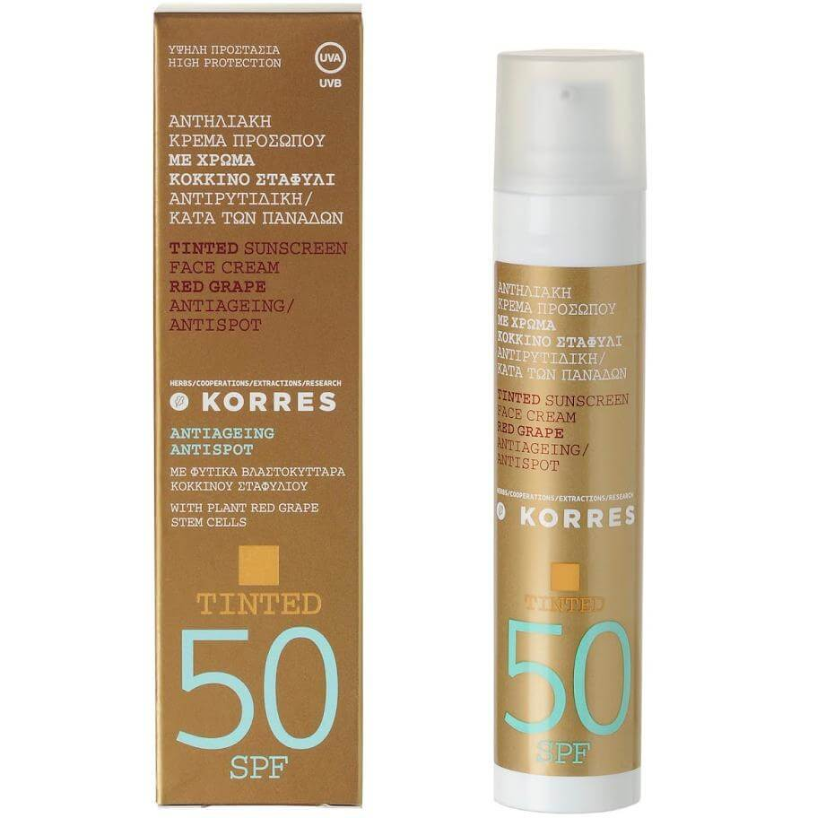 Korres Antispot Αντηλιακή Κρέμα Προσώπου Με Χρώμα Spf50 Αντιρυτιδική/ κατά των Πανάδων Κόκκινο Σταφύλι 50ml