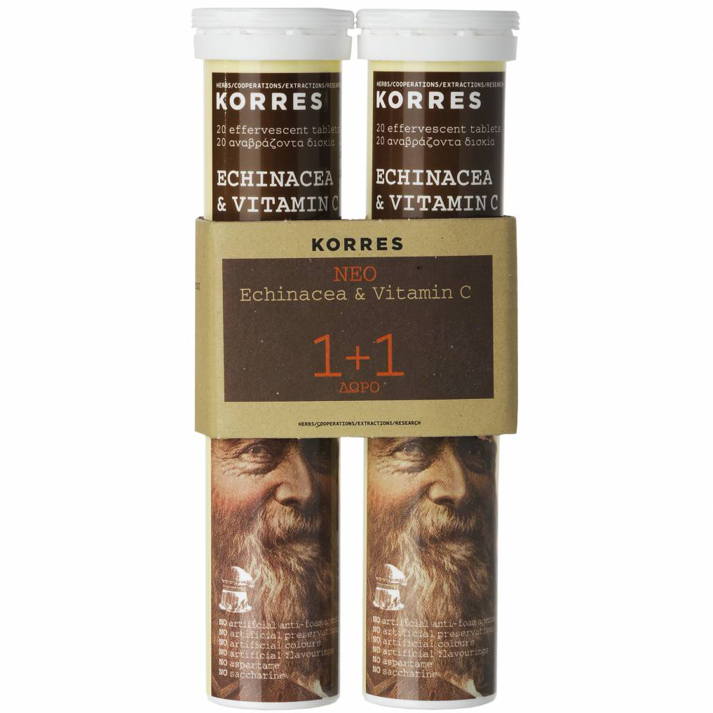 Korres Πακέτο Προσφοράς Echinacea & Βιταμίνη C, Γεύση Λεμόνι 1+1 Δώρο2×20 Αναβρ.Δισκία