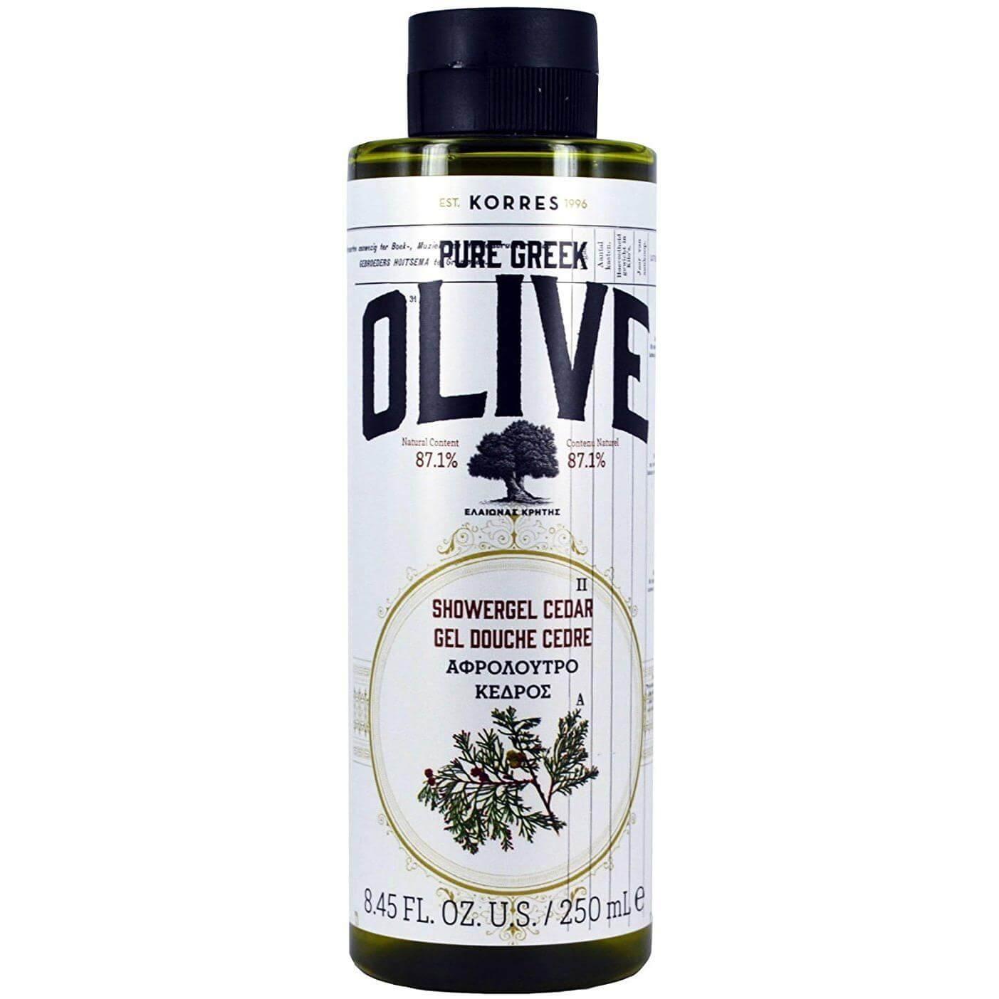 Korres Pure Greek Olive Shower Gel Cedar Αφρόλουτρο με Εκχύλισμα Φύλλων Βιολογικής Ελιάς & Άρωμα Κέδρου 250ml