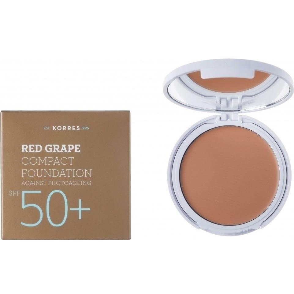Korres Κόκκινο Σταφύλι Compact Foundation Spf50+ Αντηλιακό Make-up σε Mορφή Compact Κατά της Φωτογήρανσης Απόχρωση Light 8gr