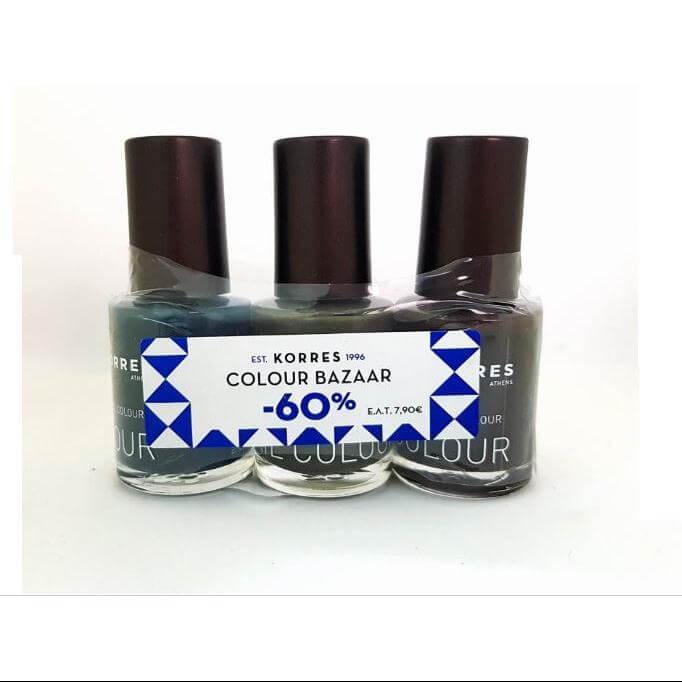 Korres Nail Colour Set, Σετ Με 3 Βερνίκια Εντονης Λάμψης Σε 3 Χρώματα:Hazy Petrol.Warm Khaki,Chocolate Brown 3τμχ