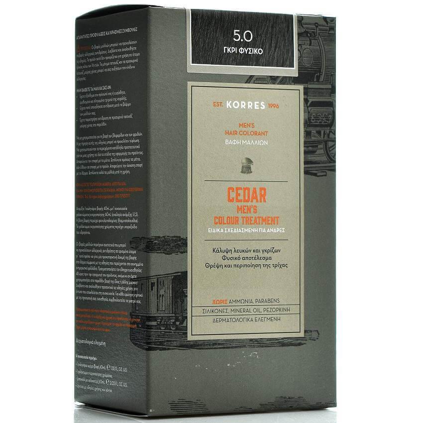 Korres Cedar Ανδρική Βαφή Μαλλιών Κέδρος, Προσφέρει Φυσικό Αποτέλεσμα στην Κάλυψ υγιεινή   μαλλιά   βαφές μαλλιών