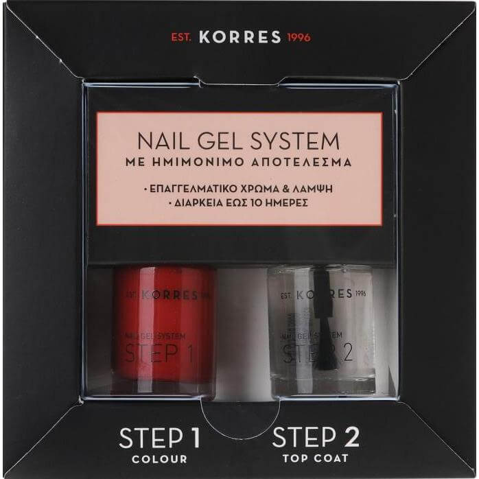 Korres Nail Gel System Classic Red & Top Coat Βερνίκια Νυχιών για Ημιμόνιμο Αποτ υγιεινή   χέρια   βερνίκια νυχιών