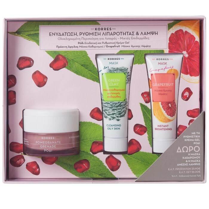 Korres Πακέτο Προσφοράς Pomegranate Cream Gel Λιπαρές-Μικτές Επιδερμίδες 40ml &Δώρο Green Clay Mask 18ml & Grapefruit Mask 18ml