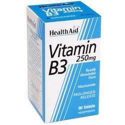 Healthaid Vitamin B3 (Niacin) 250mg Συμμετέχει Σε Πολλές Μεταβολικές Διεργασίες 90 tabs