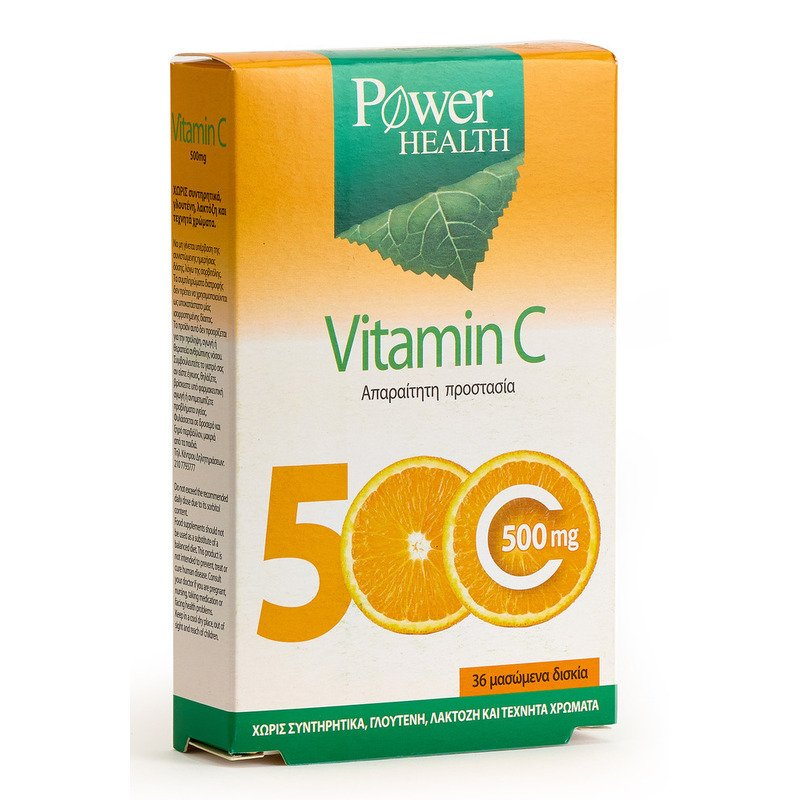 Power Health Vitamin C 500mg Συμπλήρωμα Διατροφής για την Ενίσχυση της Άμυνας του Οργανισμού36 Μασώμενα Δισκία