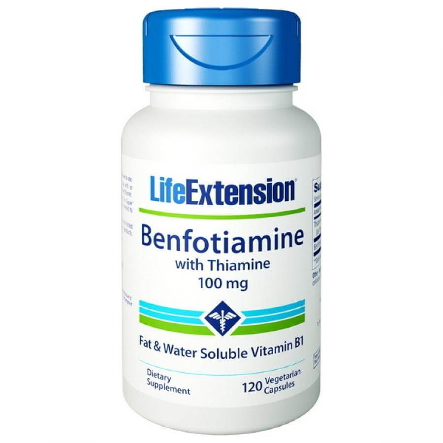 Life Extension Benfotianmine With Thiamine 100mg Συμπλήρωμα Διατροφής για τον Υγιή Μεταβολισμό των Σακχάρων του Αίματος 120caps