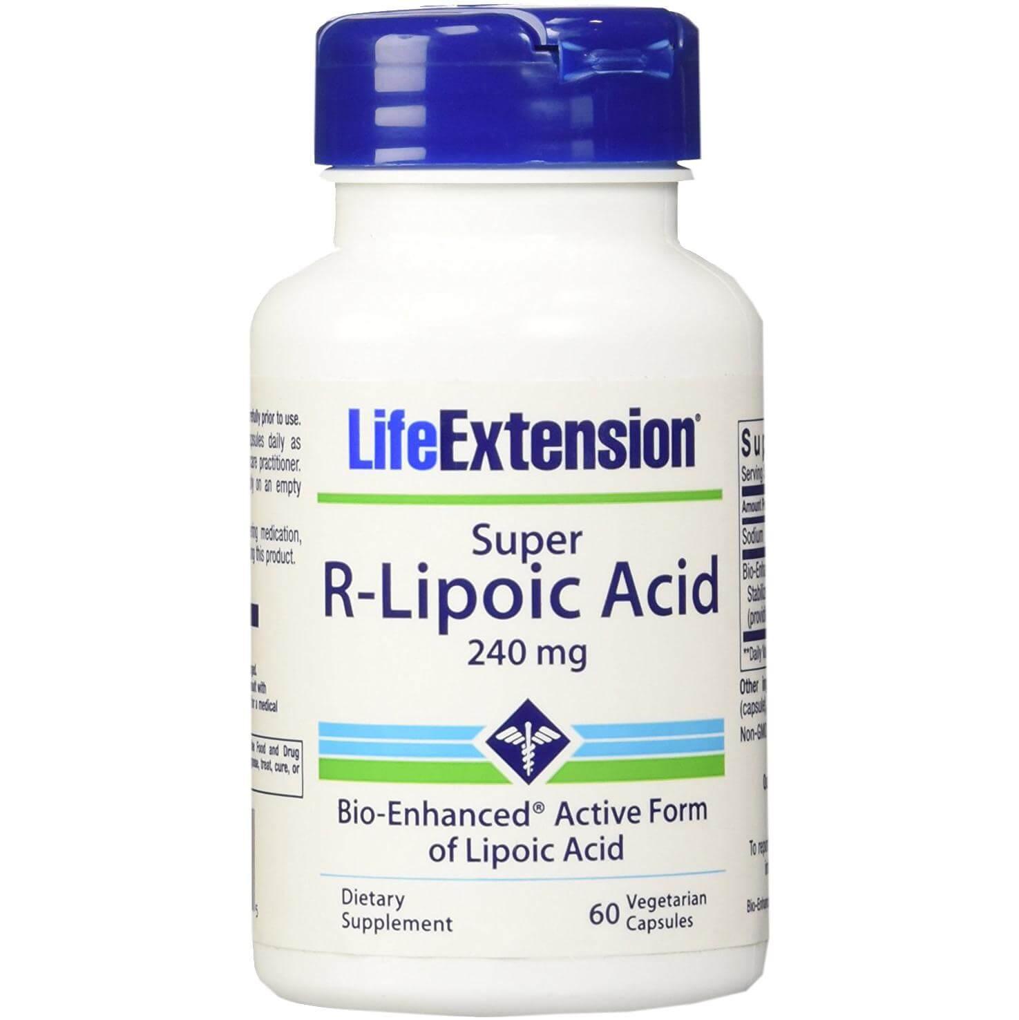 LIfe Extension Super R-Lipoic Acid 240mg Συμπλήρωμα Διατροφής, Προστατεύει από το Οξειδωτικό Στρες 60veg.Caps